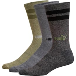 1/2 Terry Men's Crew Socks [3 Pack], OLIVE, small